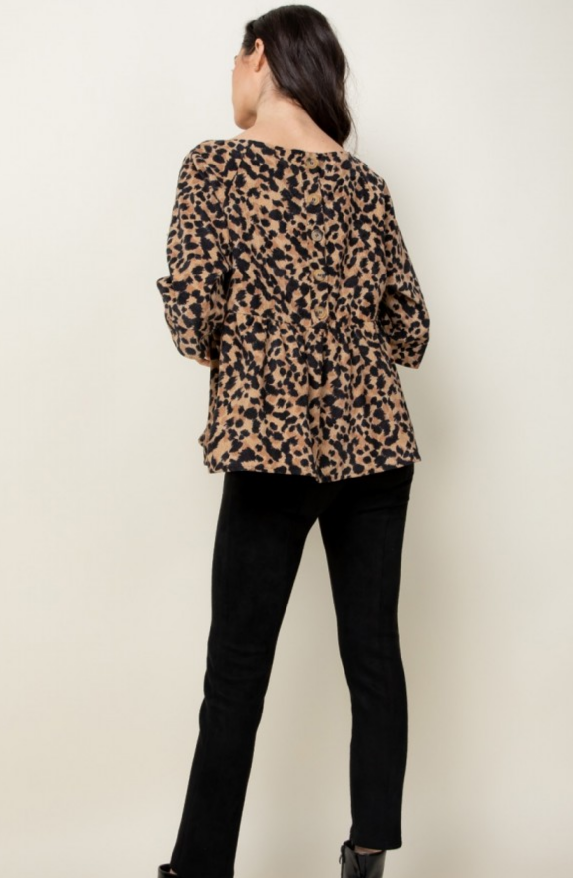 THML Cheetah Back Button Up - FINAL SALE