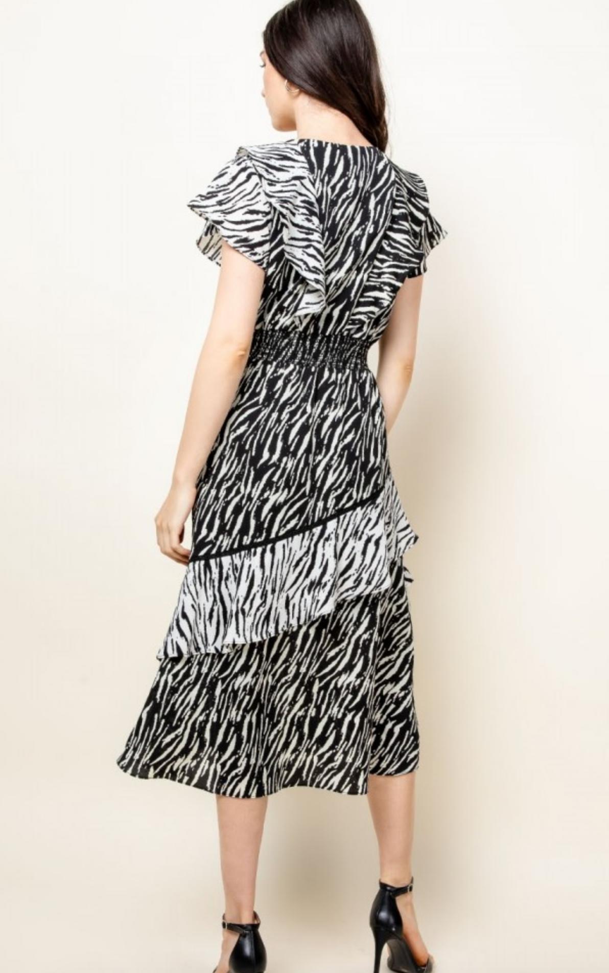 THML Zebra Stripe Ruffle Dress-FINAL SALE