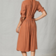 By Together Striped Maxi w/ Bow Tie Slv - Camel