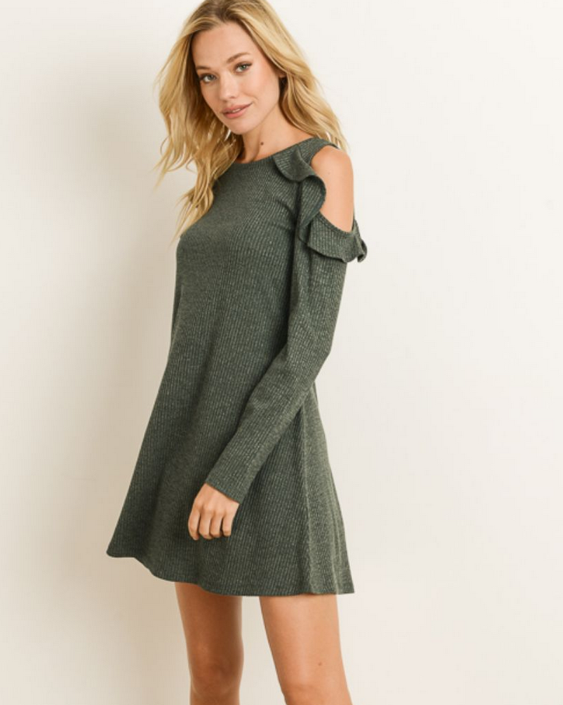 Hem & Thread Cold Shoulder Ruffle Dress-H Green