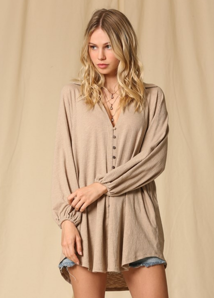 By Together V Neck Button Down Tunic-Taupe