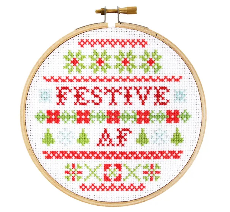 The Stranded Stitch Festive AF Cross Stitch Kit