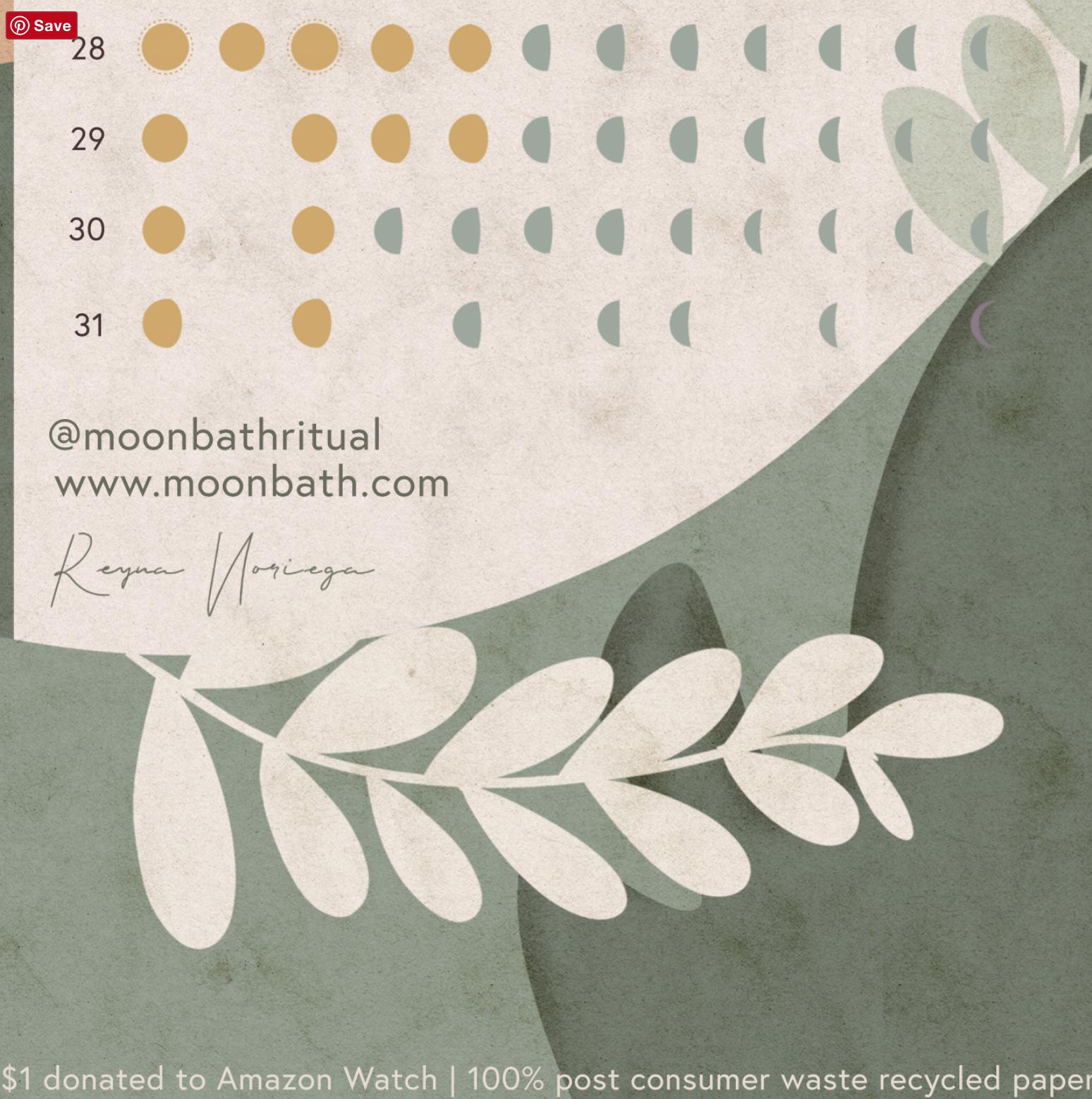 Moon Bath 2021 Lunar Calendar
