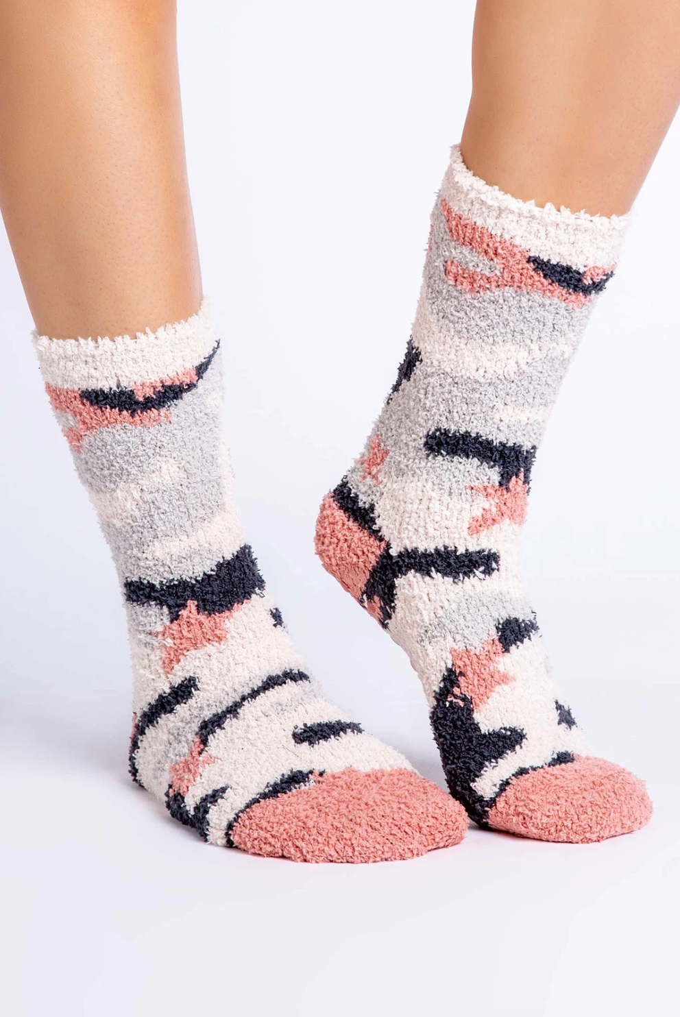 PJ Salvage Fuzzy Socks-Oatmeal Camo