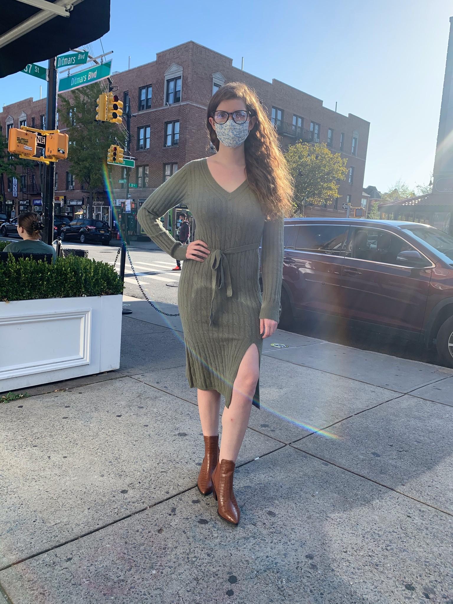 Hem & Thread Split Sweater Midi Dress-Olive