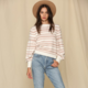 By Together L/S Crew Neck Striped Sweater-Taupe/Ivory
