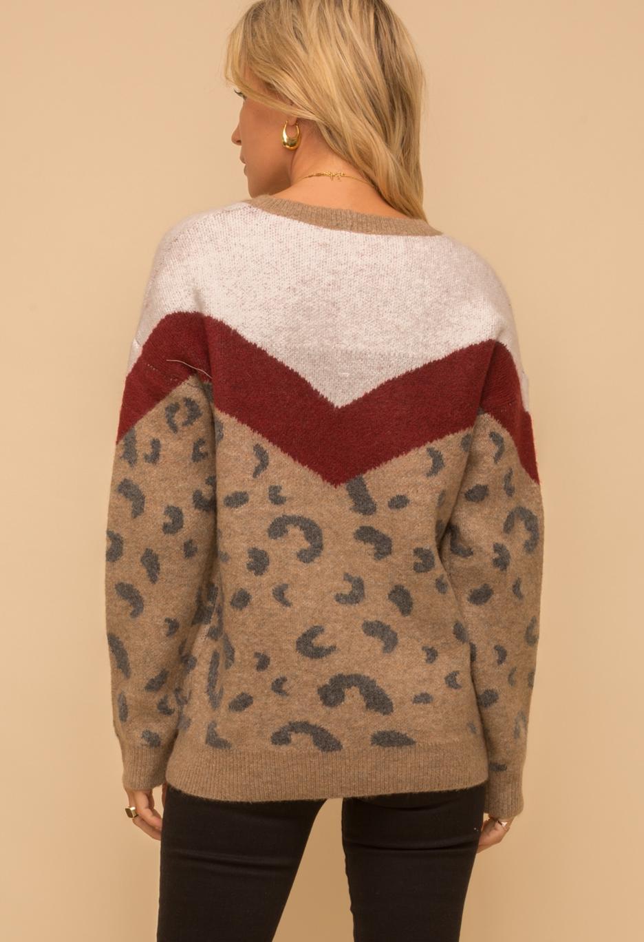 Hem & Thread Color Block Leopard Sweater- Maroon/Multi