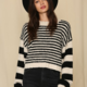 By Together Striped Crew Neck Knit Sweater-Black/Ivory