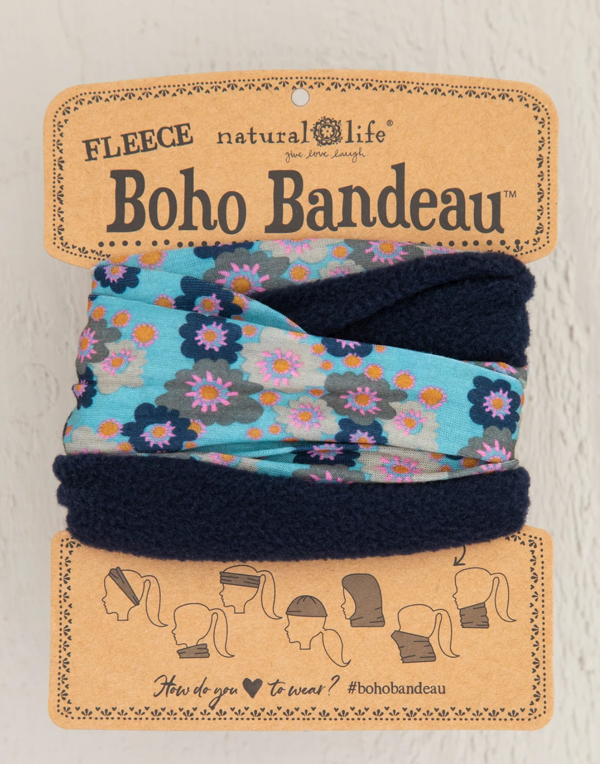 Natural Life Fleece Boho Bandeau-Aqua Floral