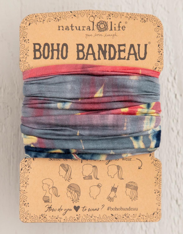Natural Life Boho Bandeau - Grey/Coral TieDye