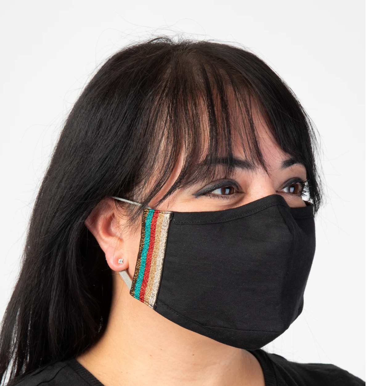Natural Life Trim Face Mask-Gold/Linen
