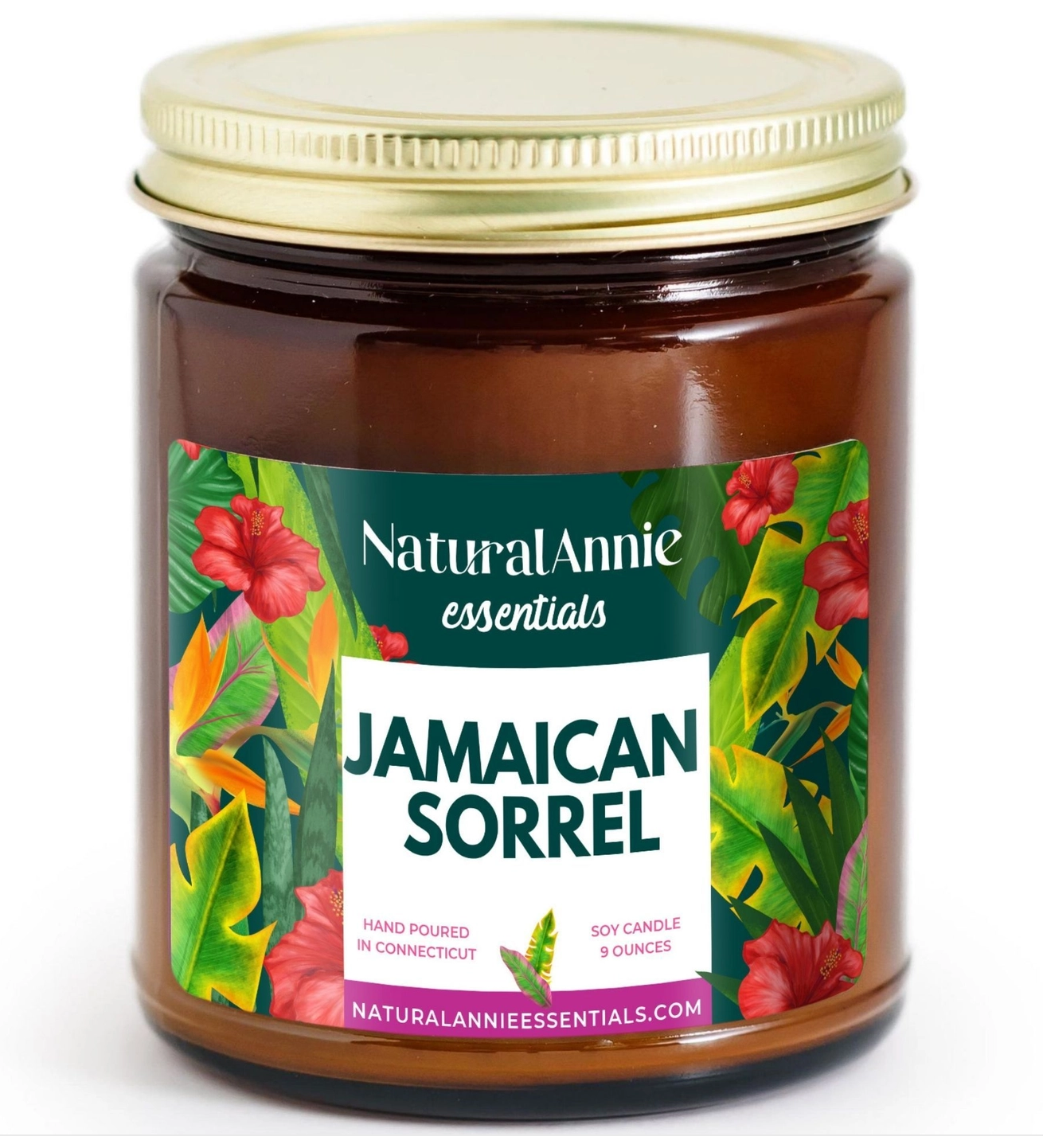 NaturalAnnie Essentials Jamaican Sorrel Scented Soy Candle 9 oz