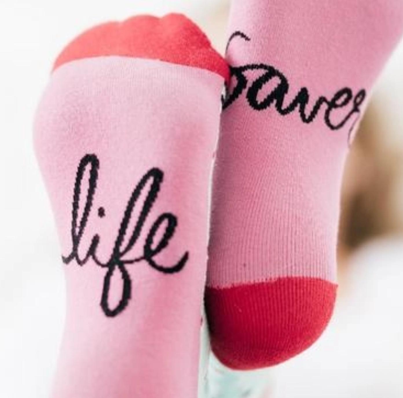 Woven Pear Life Saver Crew Sock