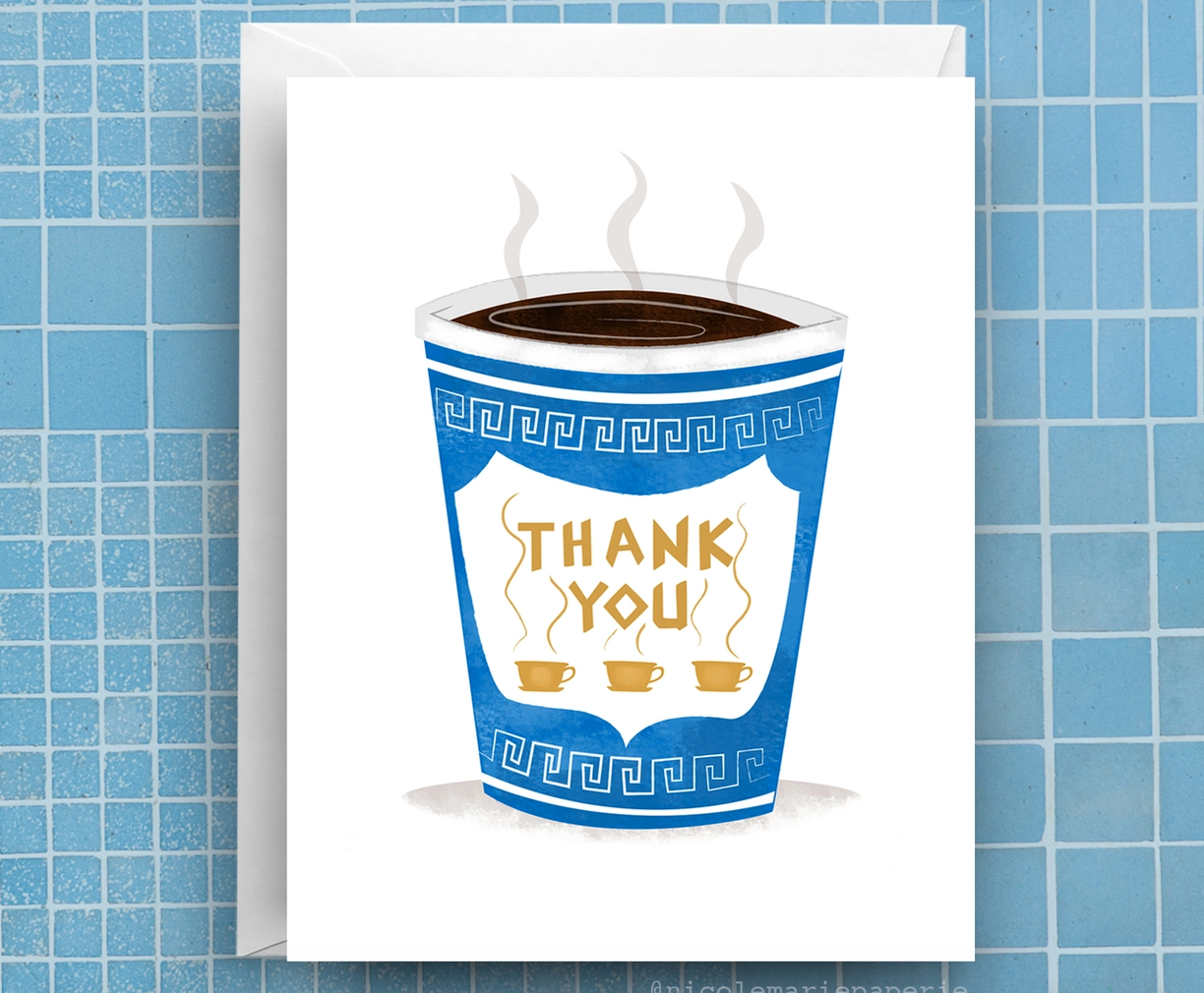 Nicole Marie Paperie Greek Coffee Thanks Card