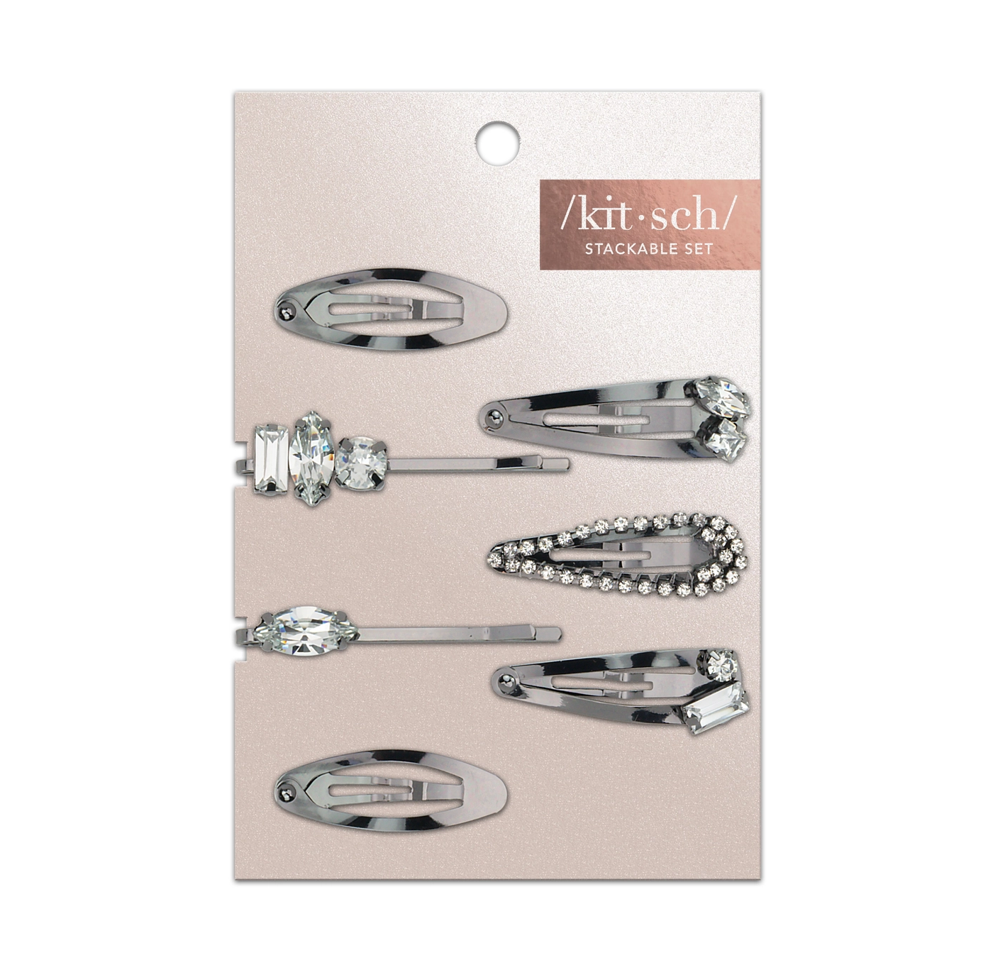 Kitsch Micro Stackable Snap Clips 7pc Set - Hematite