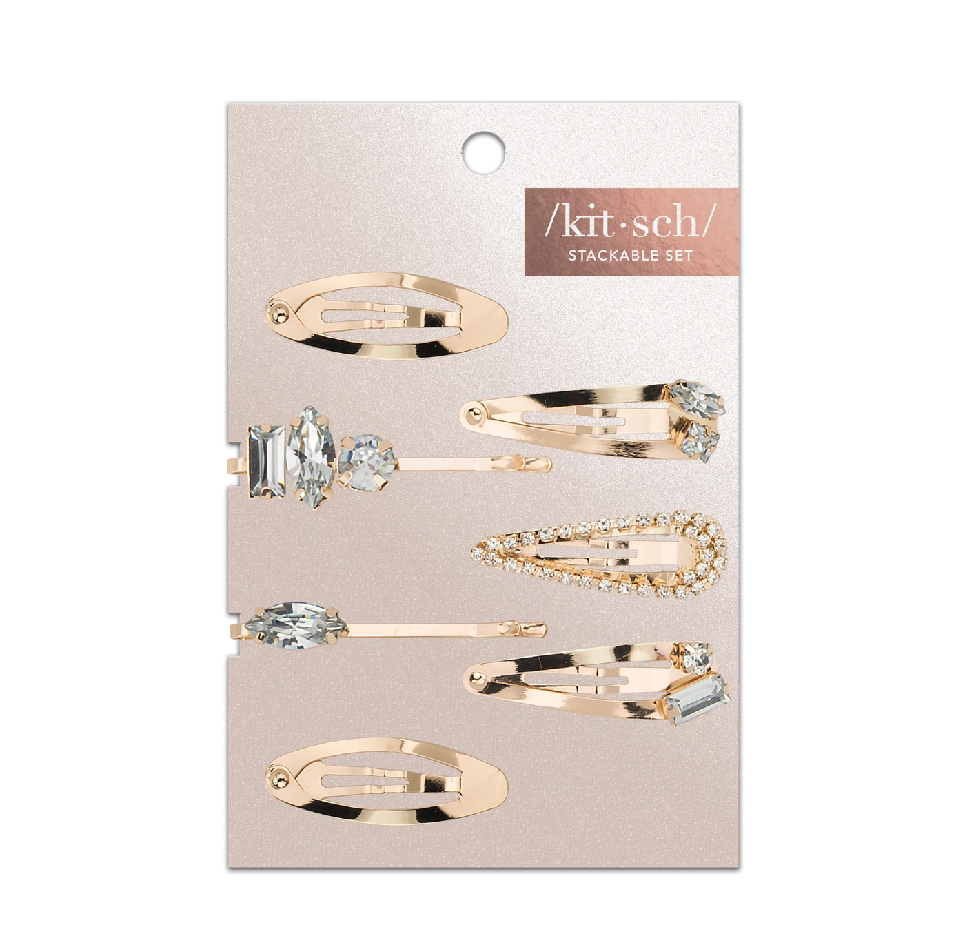 Kitsch Micro Stackable Snap Clips 7pc Set - Gold