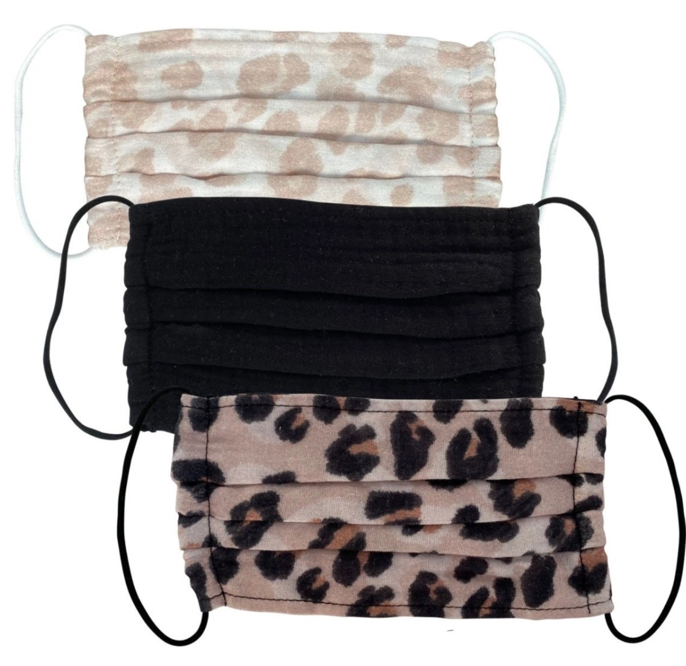 Kitsch Cotton Mask 3pc Set - Leopard