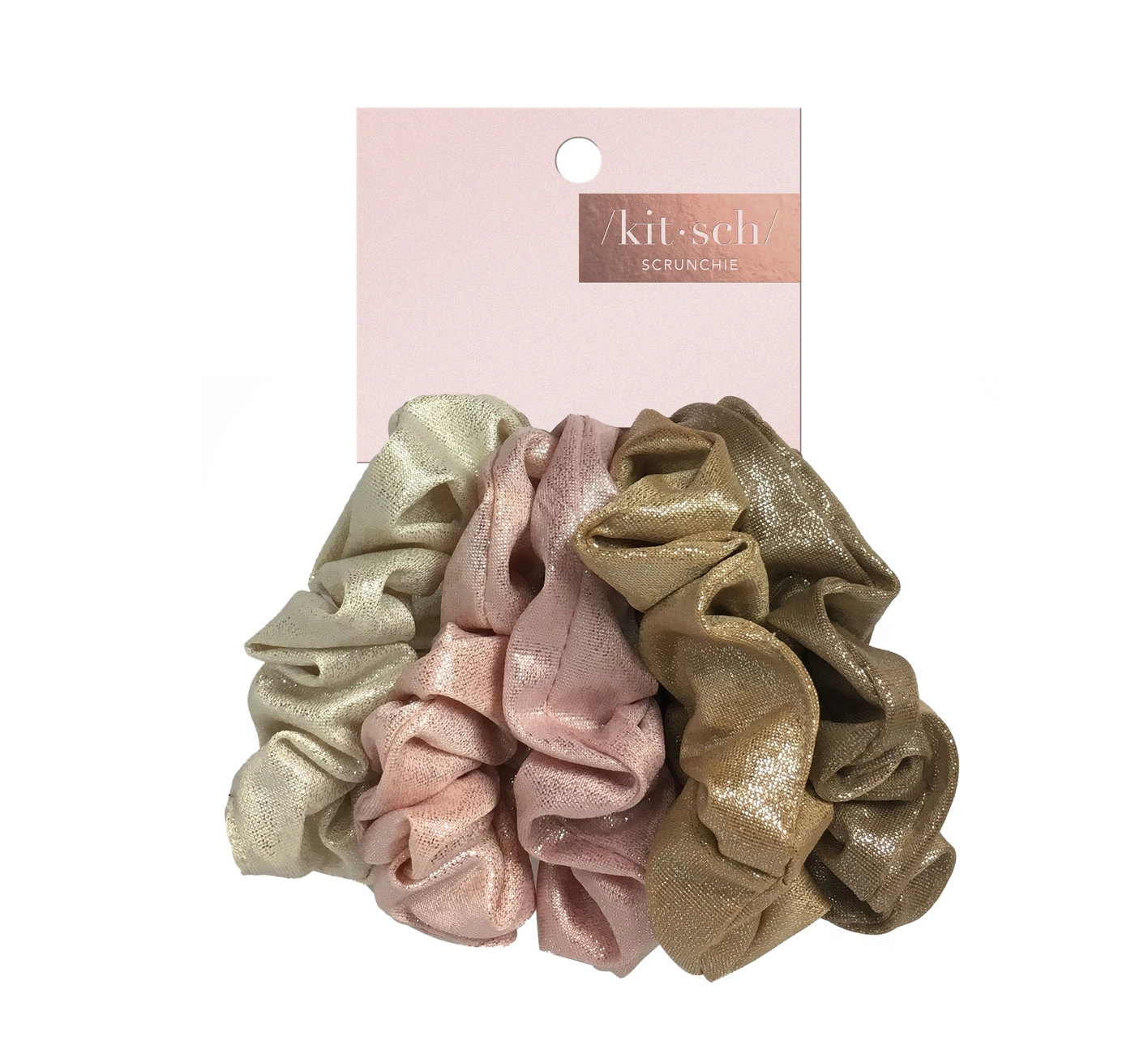 Kitsch Metallic Scrunchies - Blush and Mauve
