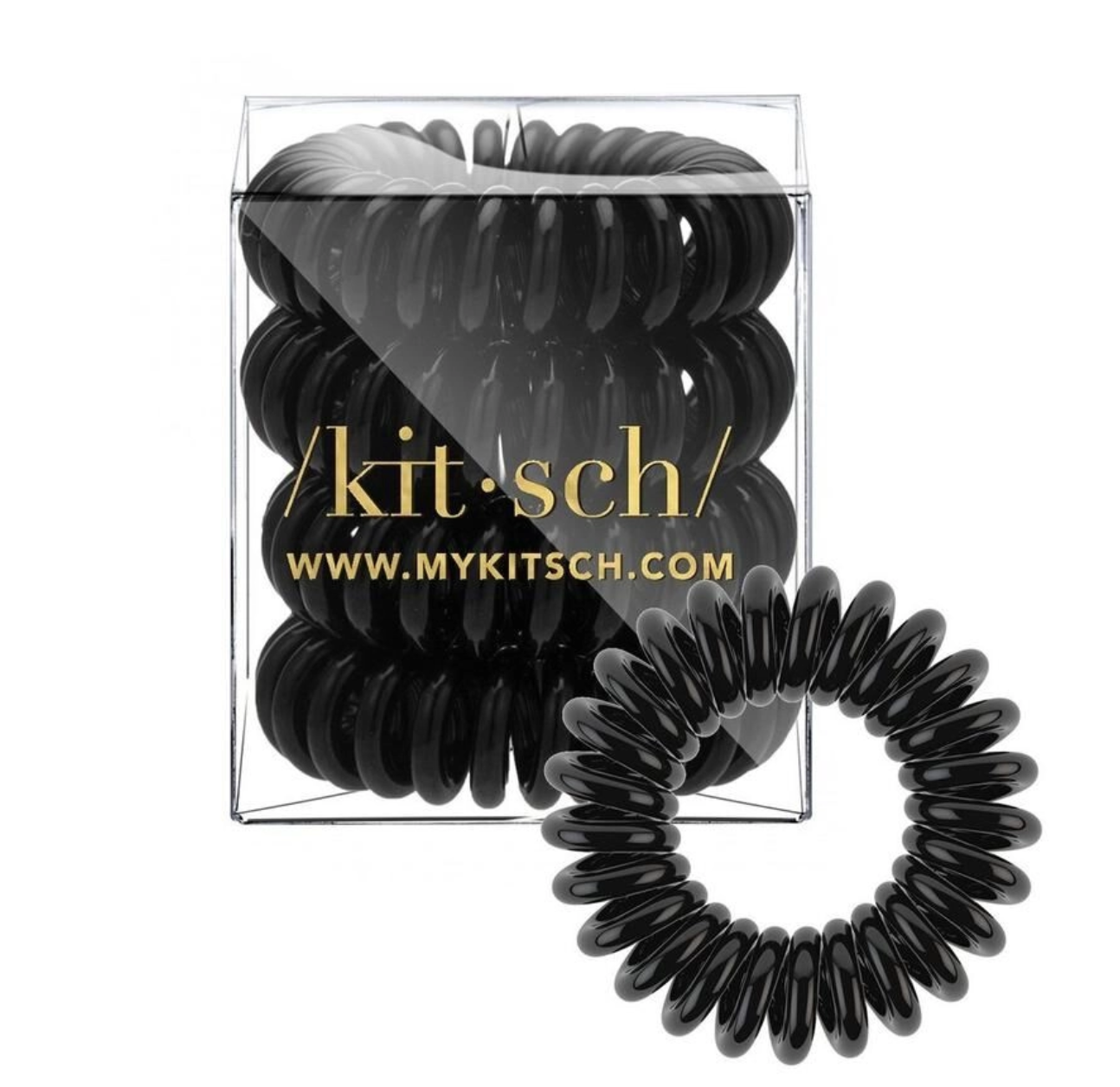 Kitsch Black Hair Coils - Pack of 4