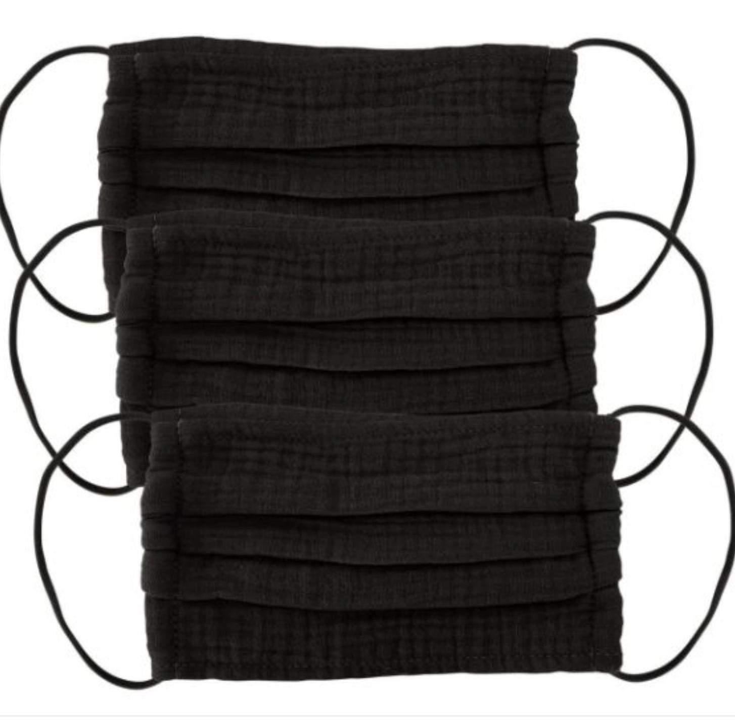 Kitsch Cotton Mask 3pc Set - All Black