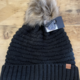 David & Young Knit Beanie w/Lining & Fur Pom - Black