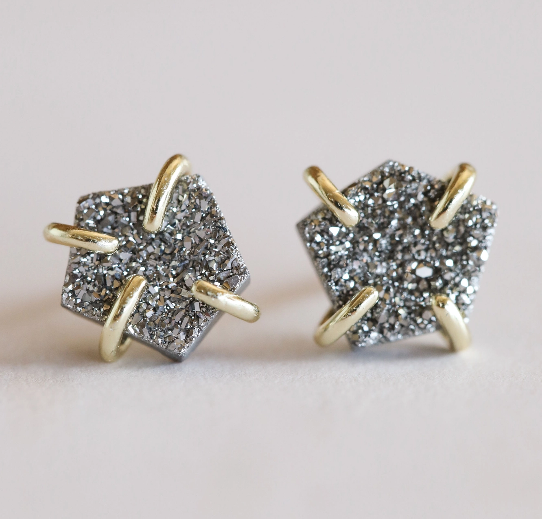 JaxKelly Earring - Silver Prong Druzy