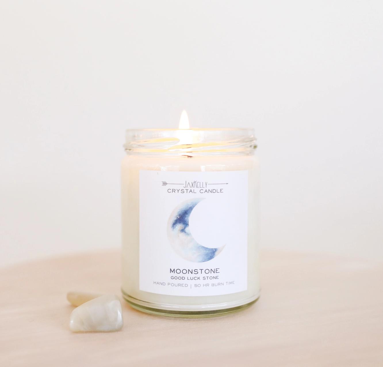 JaxKelly Moonstone Crystal Candle