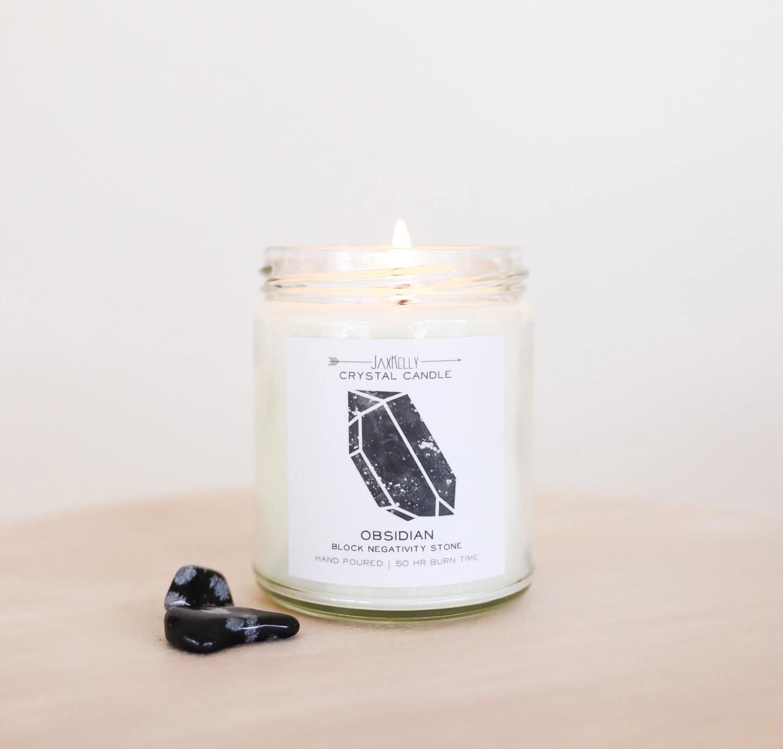 JaxKelly Obsidian Crystal Candle