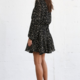 By Together Dotted L/S Tie Waist Dress- Black