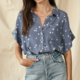 By Together Star Button Down Top-Blue