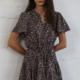 By Together Short Sleeve Waist Tie Dress-Navy/Taupe