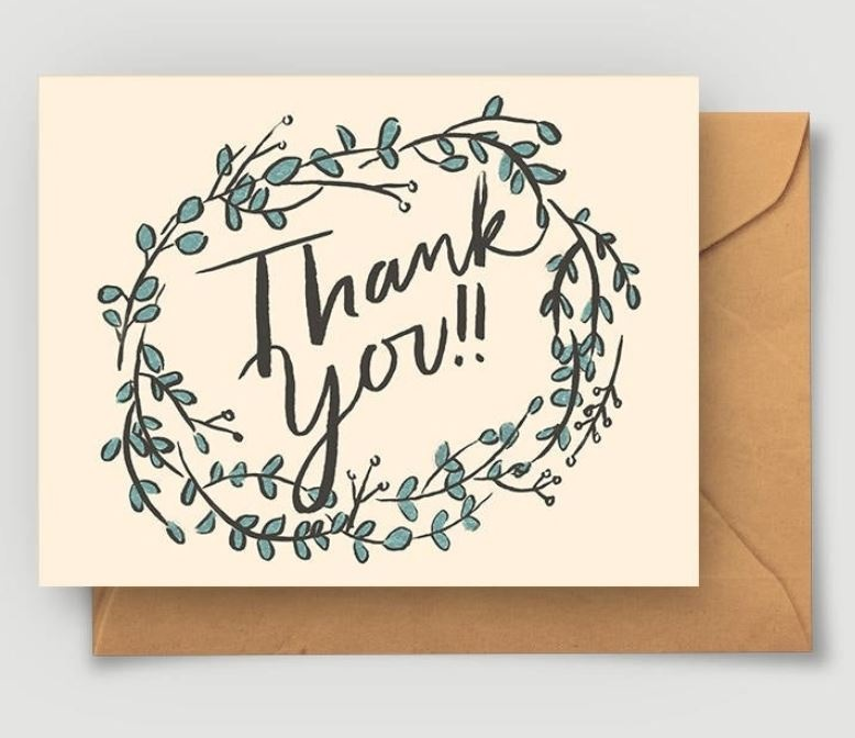 Abbie Paulhus Eucalyptus Thank You Greeting Card