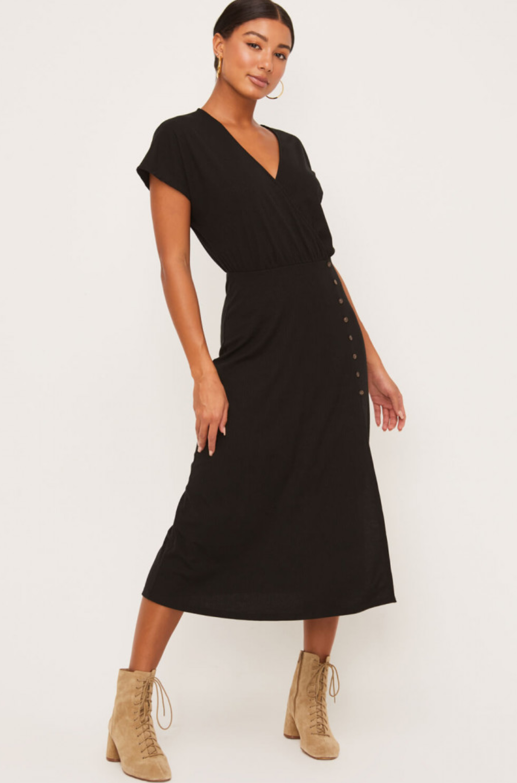 Lush Midi Short Sleeve Dress-Black