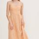 Lush Sleeveless Gingham Dress-Peach