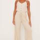 Lush Sleeveless Jumpsuit with Tie Waist-Oatmeal