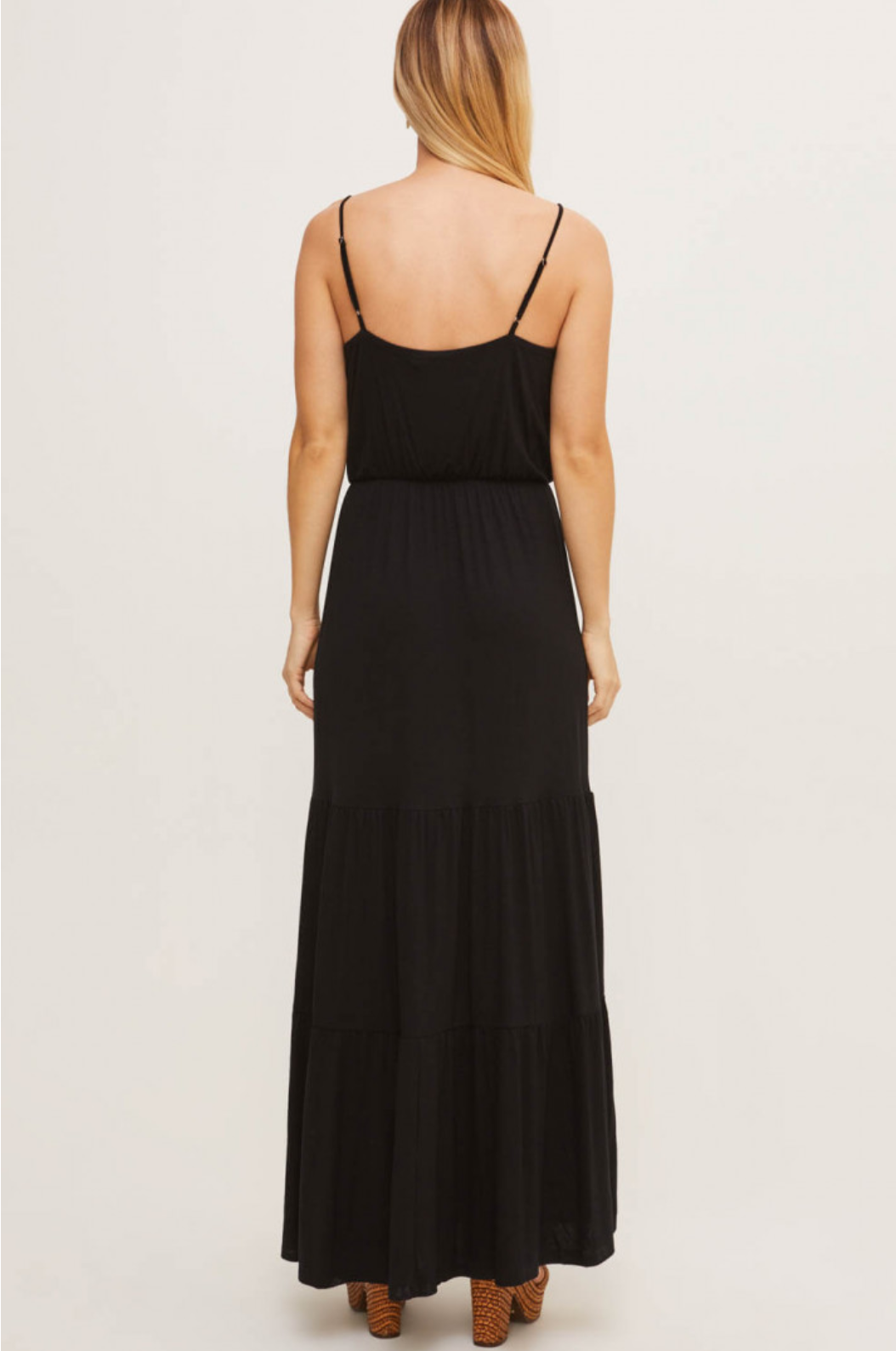 Lush Cami Tiered Maxi Dress-Black