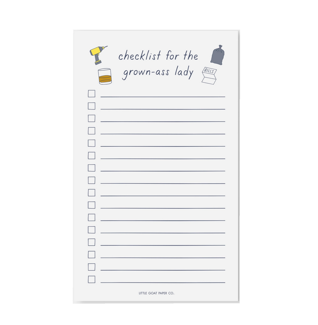 Little Goat Grown-Ass Lady Checklist Notepad