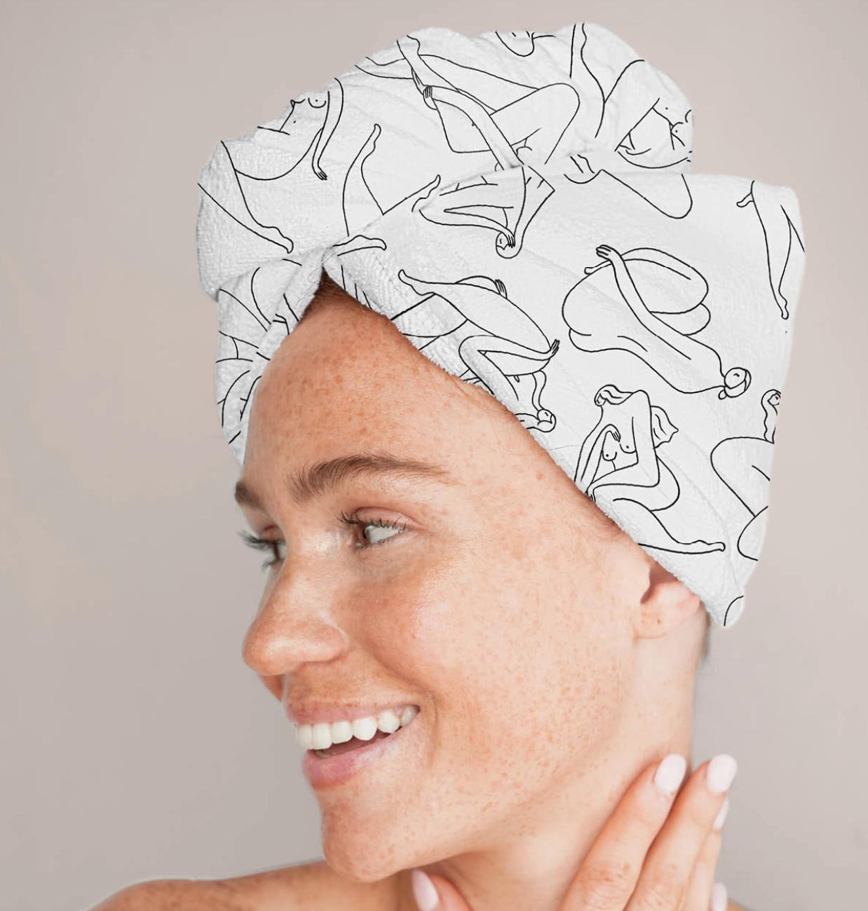 Kitsch Microfiber Hair Towel - Body Positivity Drawing