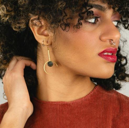 Larissa Loden Santorini Earrings  Rose Quartz