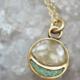 Cameoko Mini Full Moon Necklace-golden opal + turquoise