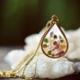 Cameoko Long Teardrop Necklace with floating gemstones