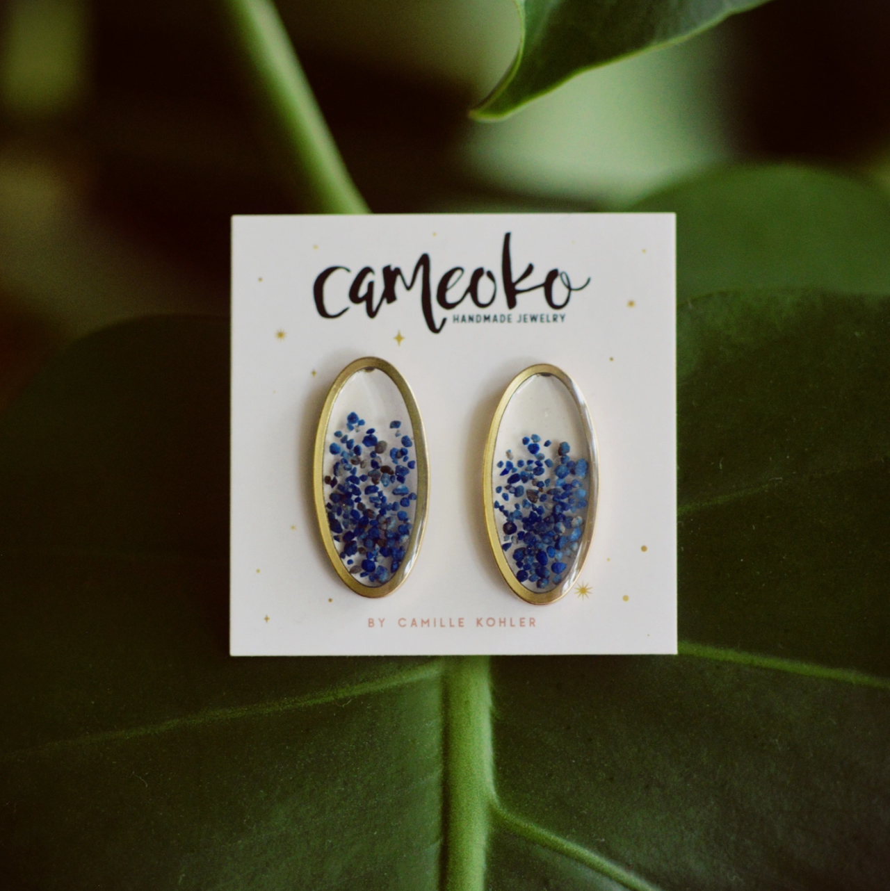 Cameoko Oval Floating Gemstone Post Earrings-lapis