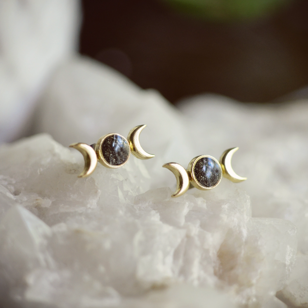 Cameoko Just a Phase Moon Earrings-pyrite