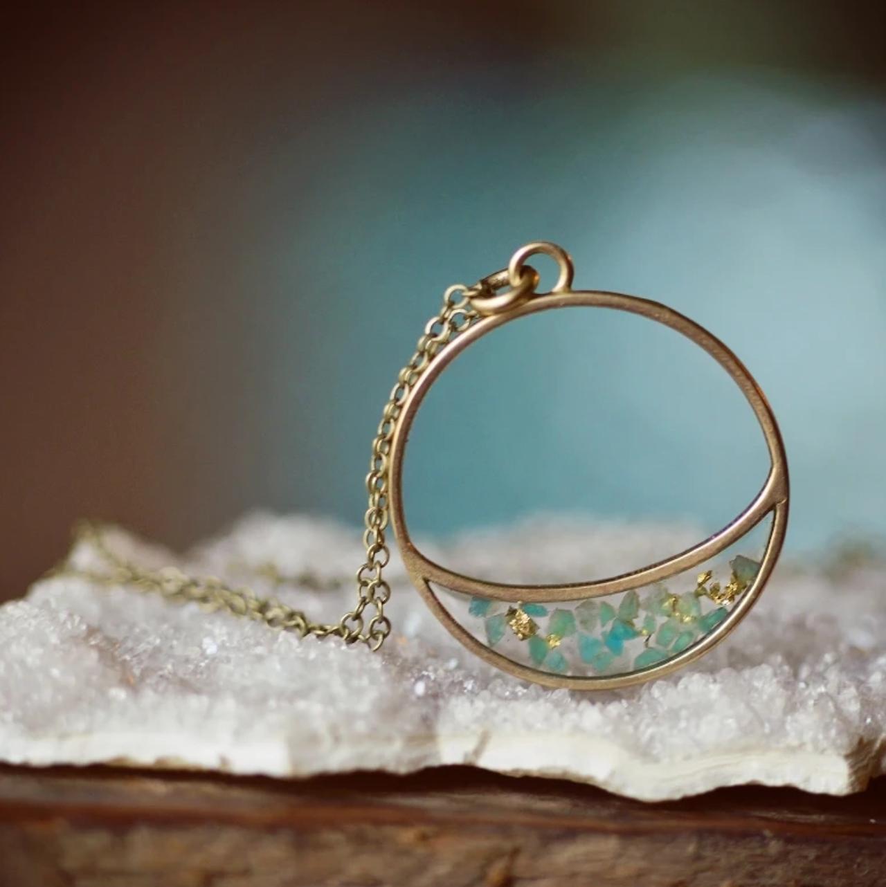 Cameoko Long Crescent Necklace-AMAZONITE + GOLD LEAF