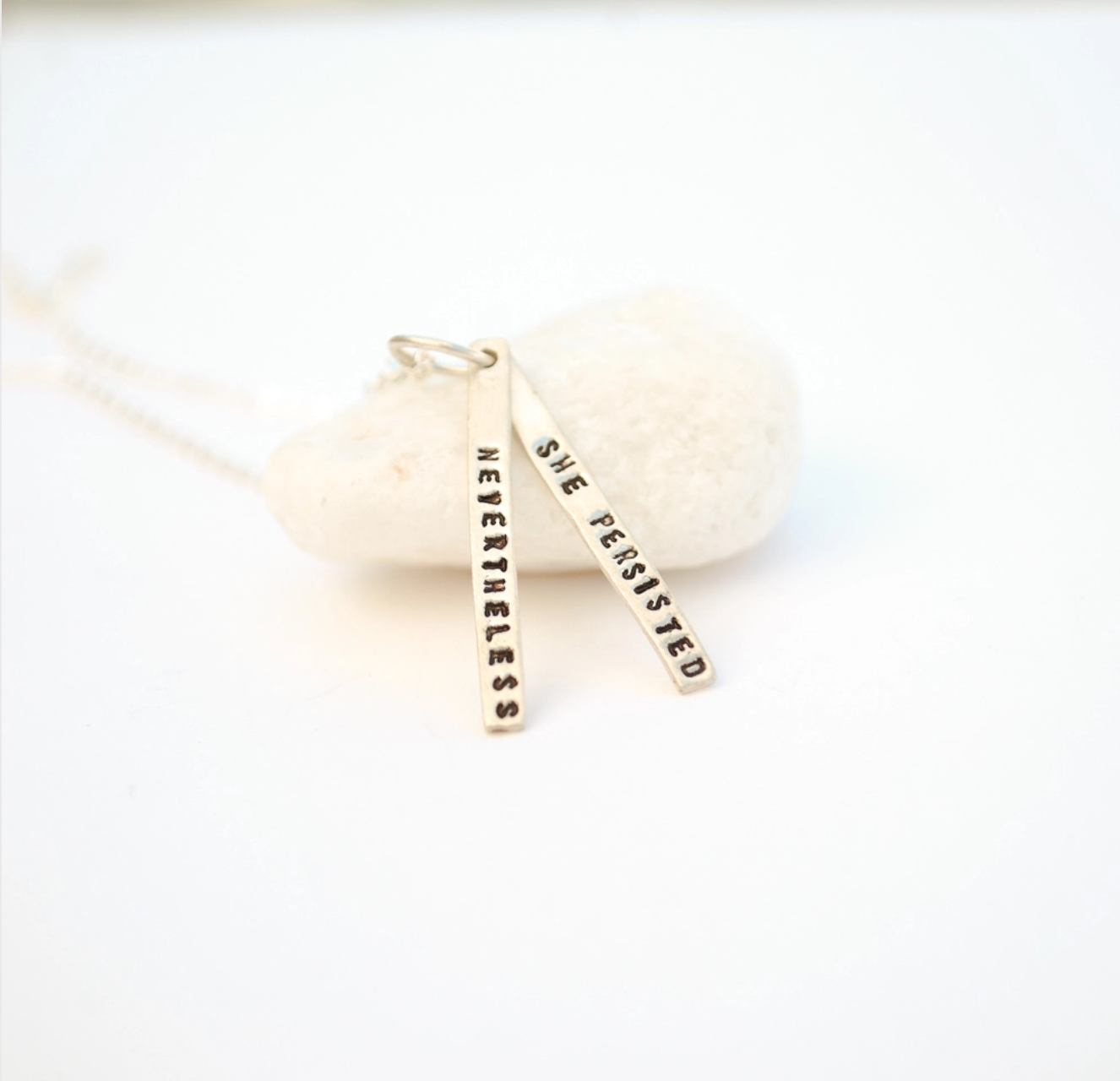 Chocolate and Steel Quote Necklace-Nevertheless