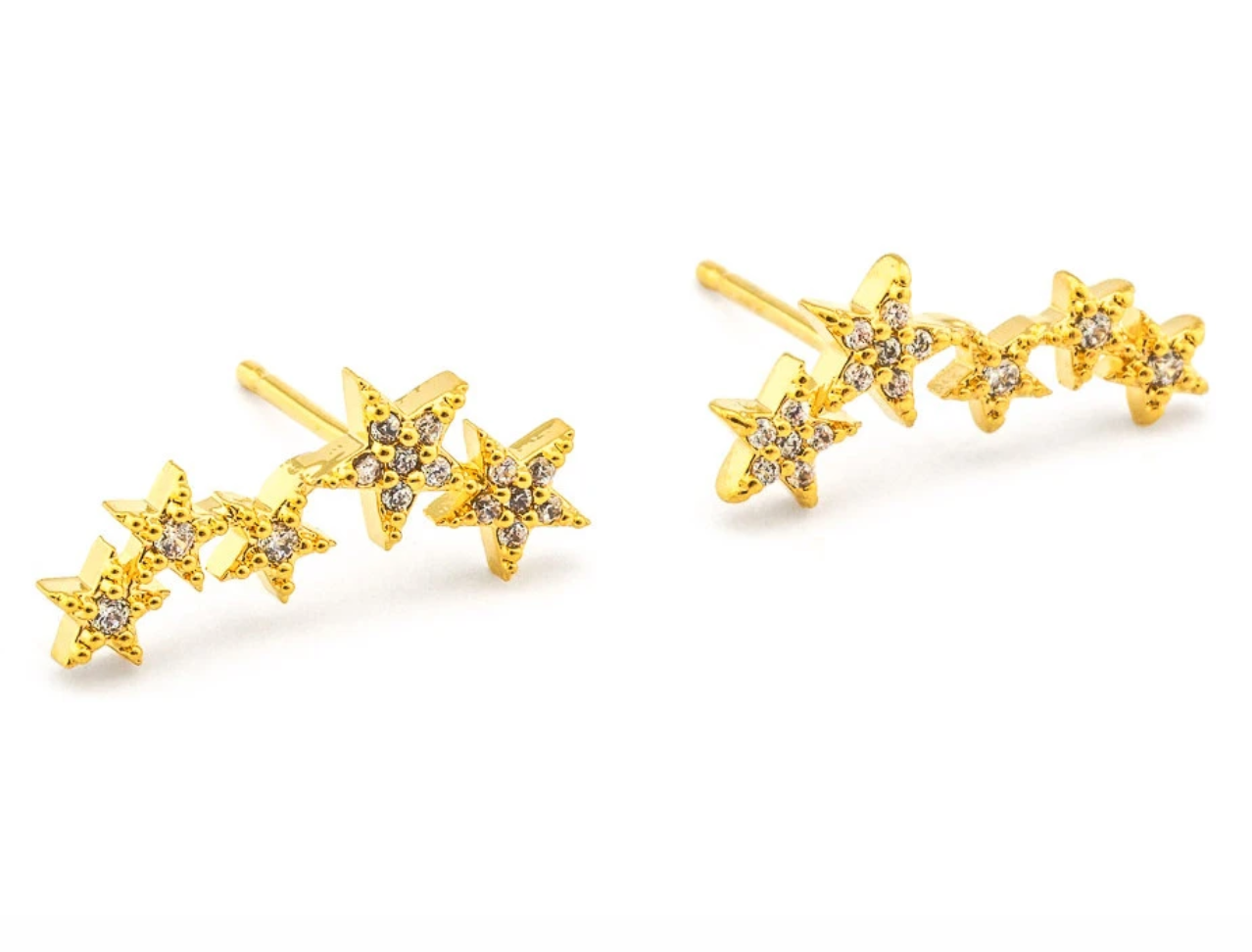 tai Gold CZ 5 star stud earrings