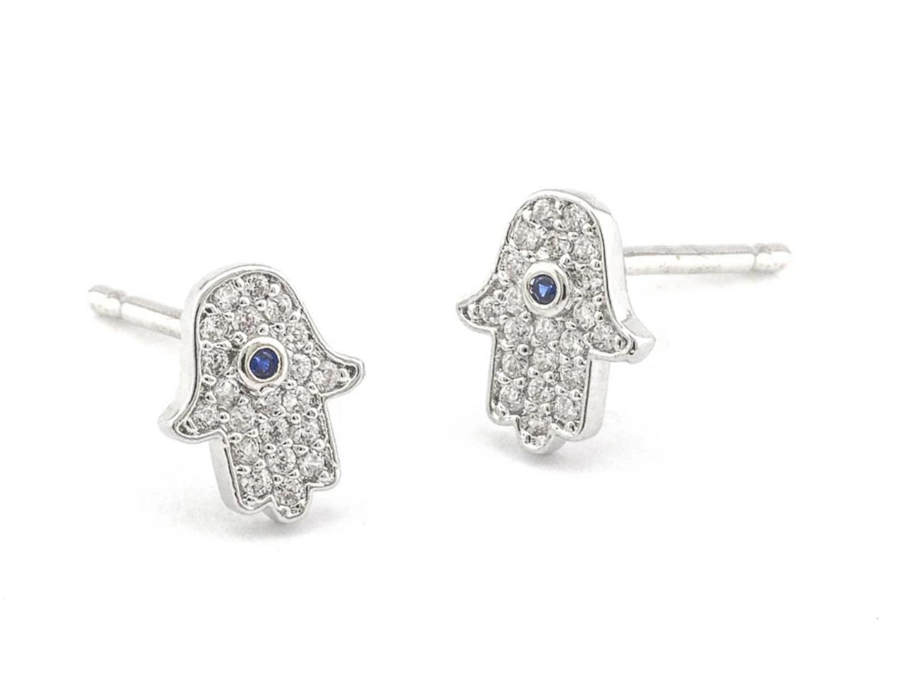 tai Silver cubic zirconia MINI hamsa stud earring
