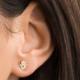 tai Gold cubic zirconia MINI hamsa stud earring