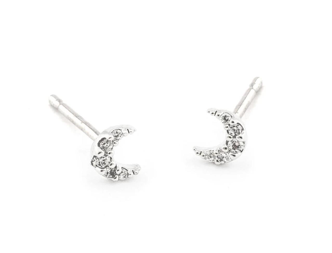 tai Silver Mini Cubic Moon Post Earring