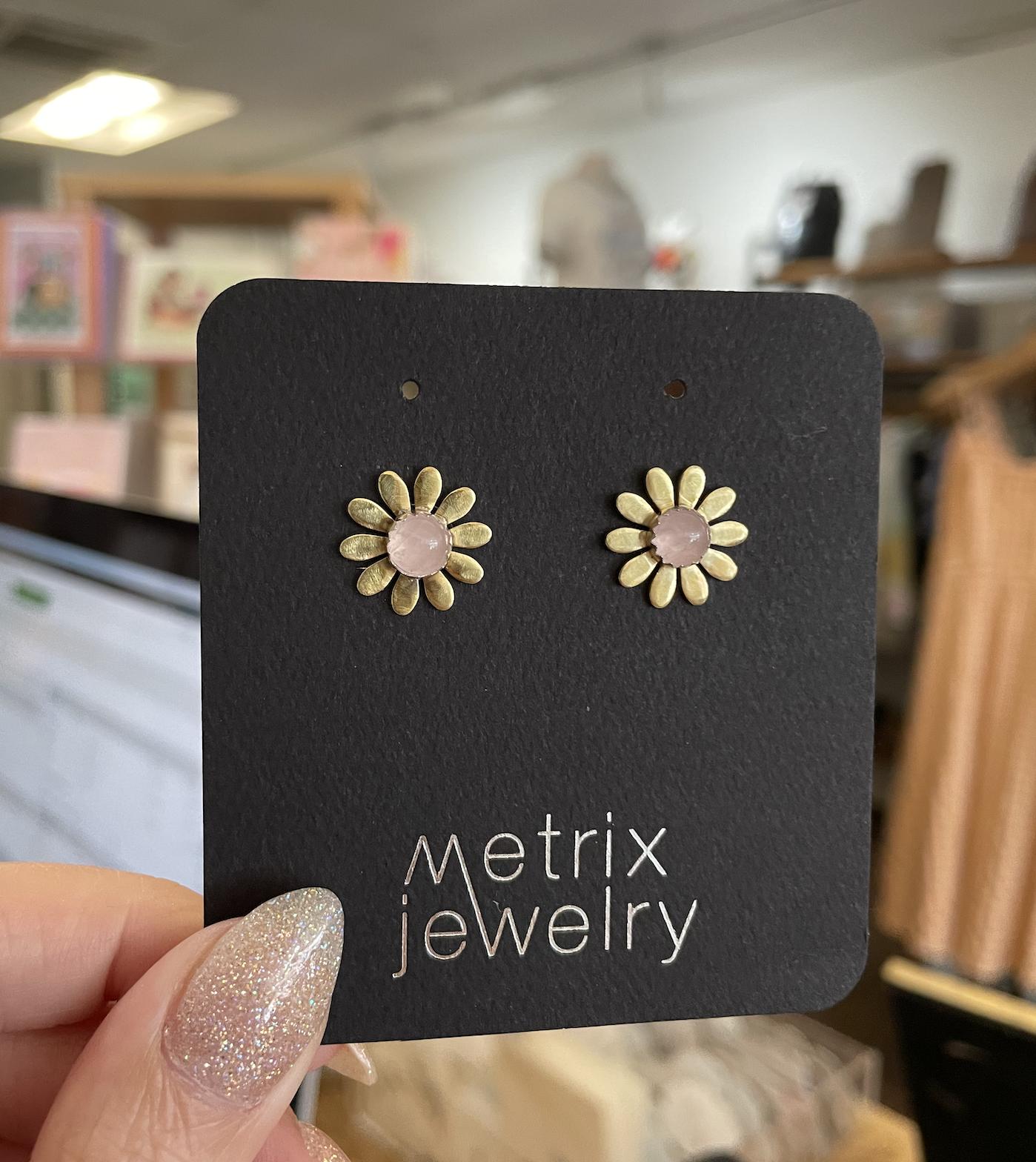Metrix Jewelry Brigitte Studs-Rose Quartz